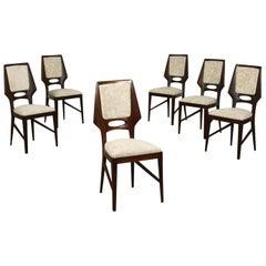 Group of Six Chairs Mahogany Velvet Foam, Italy, 1950s
