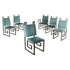 Group of Six Chairs Metal Foam Velvet, Italy, 1990s