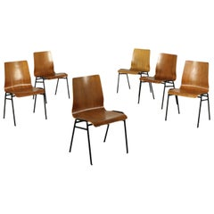 Group of Six Chairs Plywood Metal, Italy, 1960s-1970s