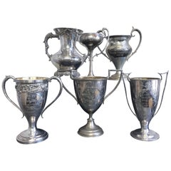 Group of Six Early 1900s California Bay Area Silverplate Cycling Trophies