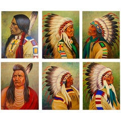 Group of Six Louis Shipshee Oil Paintings