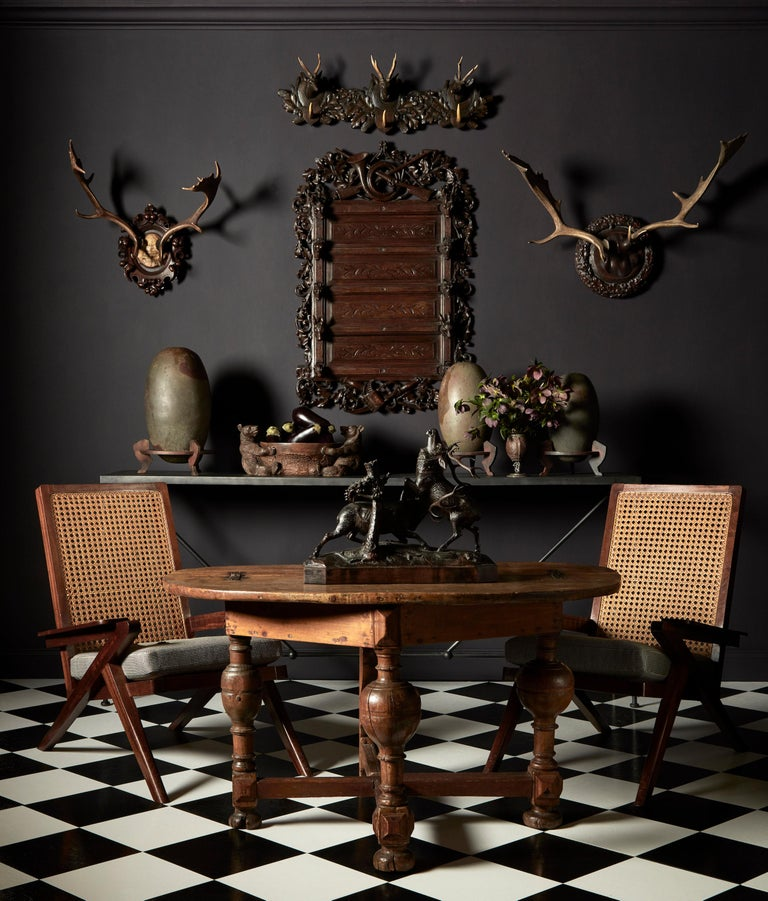 Group of Six Swiss 'Black Forest' Moose Antler Trophy Mounts, Early 20th Century For Sale 1