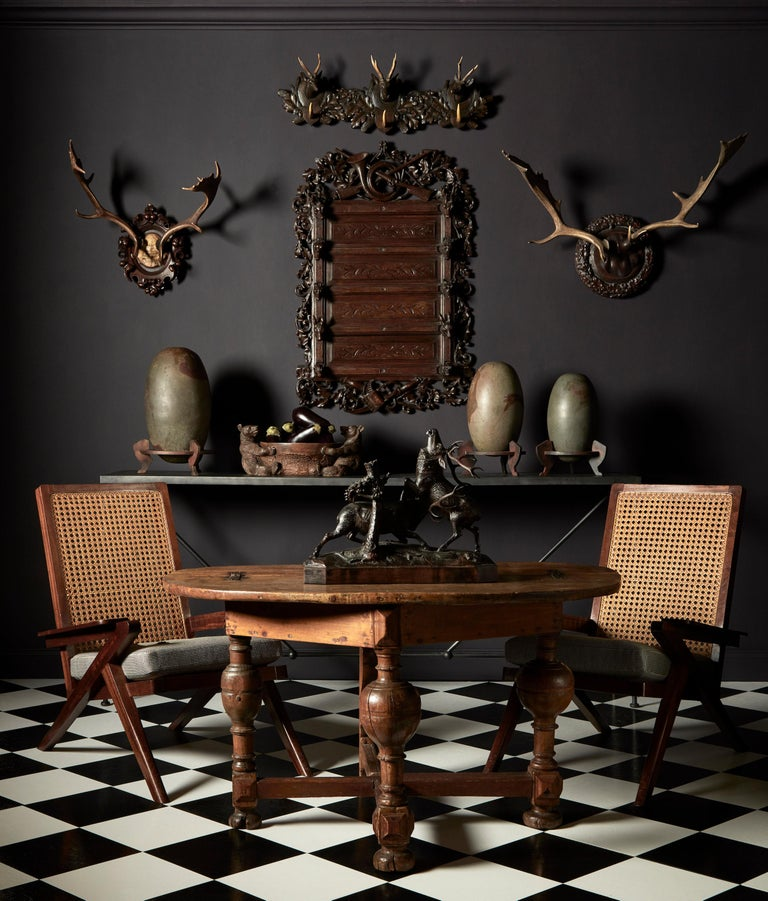 Group of Six Swiss 'Black Forest' Moose Antler Trophy Mounts, Early 20th Century For Sale 2