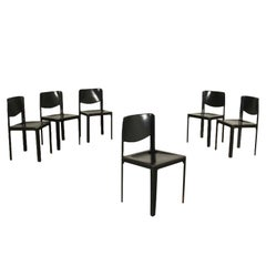 Group of Six Tito Agnoli Chairs Metal Leather, 1980s