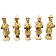 Group of Six Unusual Costumes Ming Dynasty Green Glazed Pottery Attendants