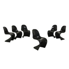 Group of Six Verner Panton Chairs Plastic Material, 1980s 1990s