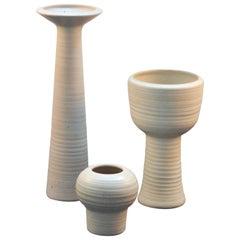 Group of Tall Studio Pottery Chalk White Floor Vases