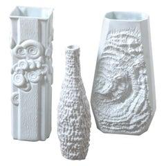 Group of Textural Ammonite White Porcelain Vases Designed by Kaiser, Germany