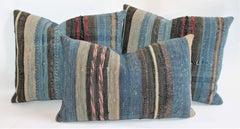 Group of Three 19th Century Rag Rug Pillows