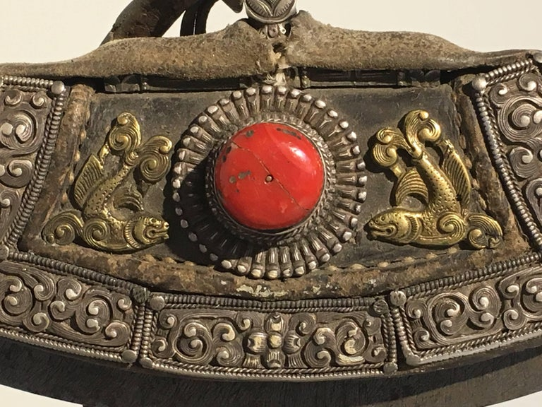 Group of Three 19th Century Tibetan Leather and Metal Flint Striker Purses For Sale 1