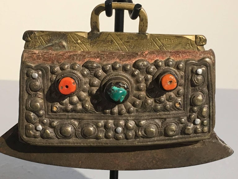 Group of Three 19th Century Tibetan Leather and Metal Flint Striker Purses For Sale 3