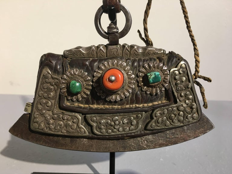 Group of Three 19th Century Tibetan Leather and Metal Flint Striker Purses For Sale 5