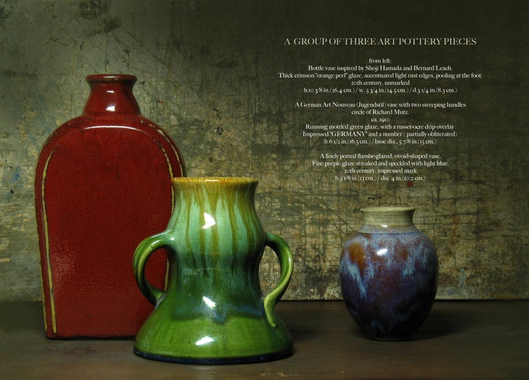 A Group of Three 20th Century Art Pottery Pieces, From left: Bottle vase inspired by Shoji Hamada and Bernard Leach. Thick crimson