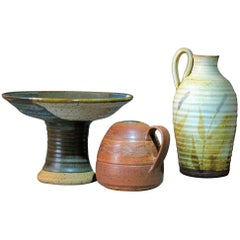 Group of Three Art Studio Pottery Pieces 20th Century