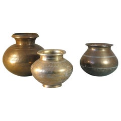 Group of Three Brass Vases Lotas Tanjore South India