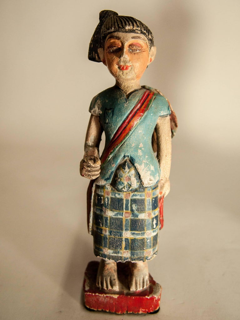 Group of Three Carved Nat Figures / Statues from Burma Painted, Mid-20th Century For Sale 3