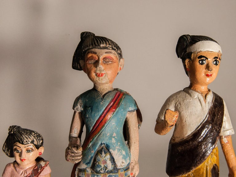 Folk Art Group of Three Carved Nat Figures / Statues from Burma Painted, Mid-20th Century For Sale