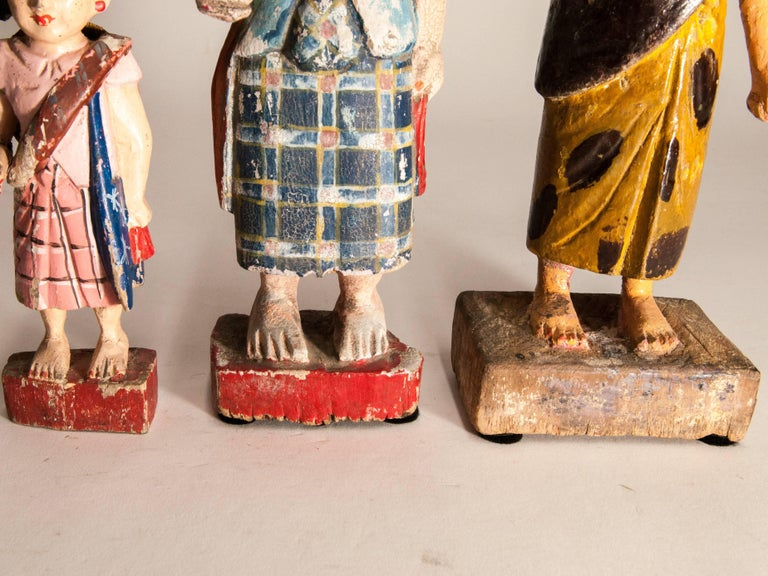 Burmese Group of Three Carved Nat Figures / Statues from Burma Painted, Mid-20th Century For Sale
