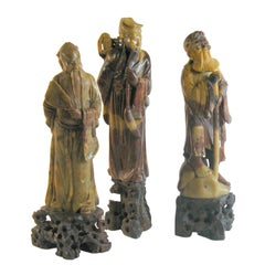 Group of Three Chinese Carved Soapstone Immortal Figures, Early 20th Century