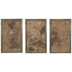 Group of Three Chinese-Export Pictorial Wallpaper Panels, circa 1790-1800