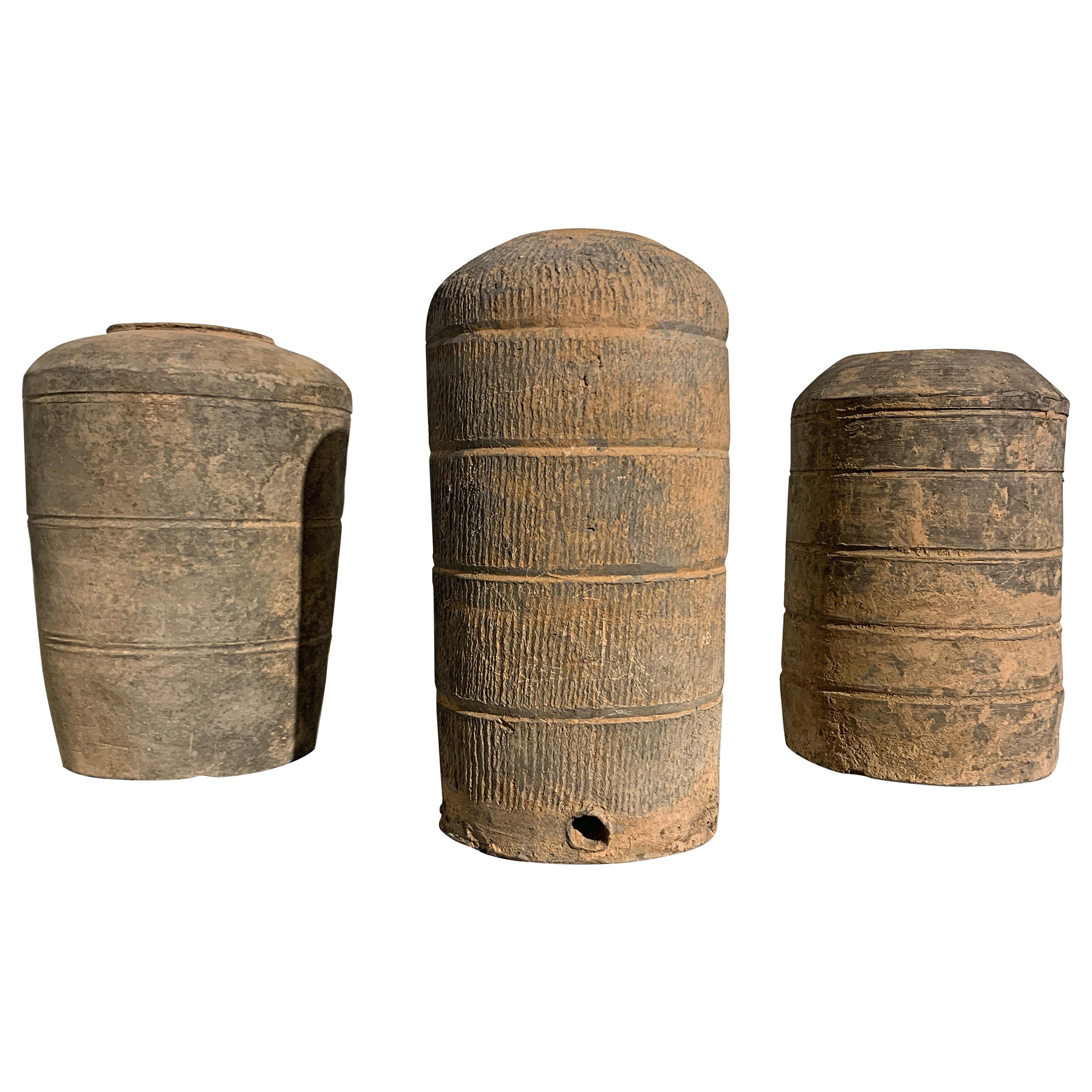 Group of Three Chinese Han Dynasty Style Gray Pottery Granary Models