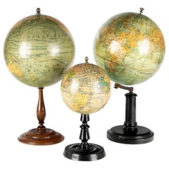 Group of Three Early 20th C. French Tabletop Globes on Stands, Including G. Thom