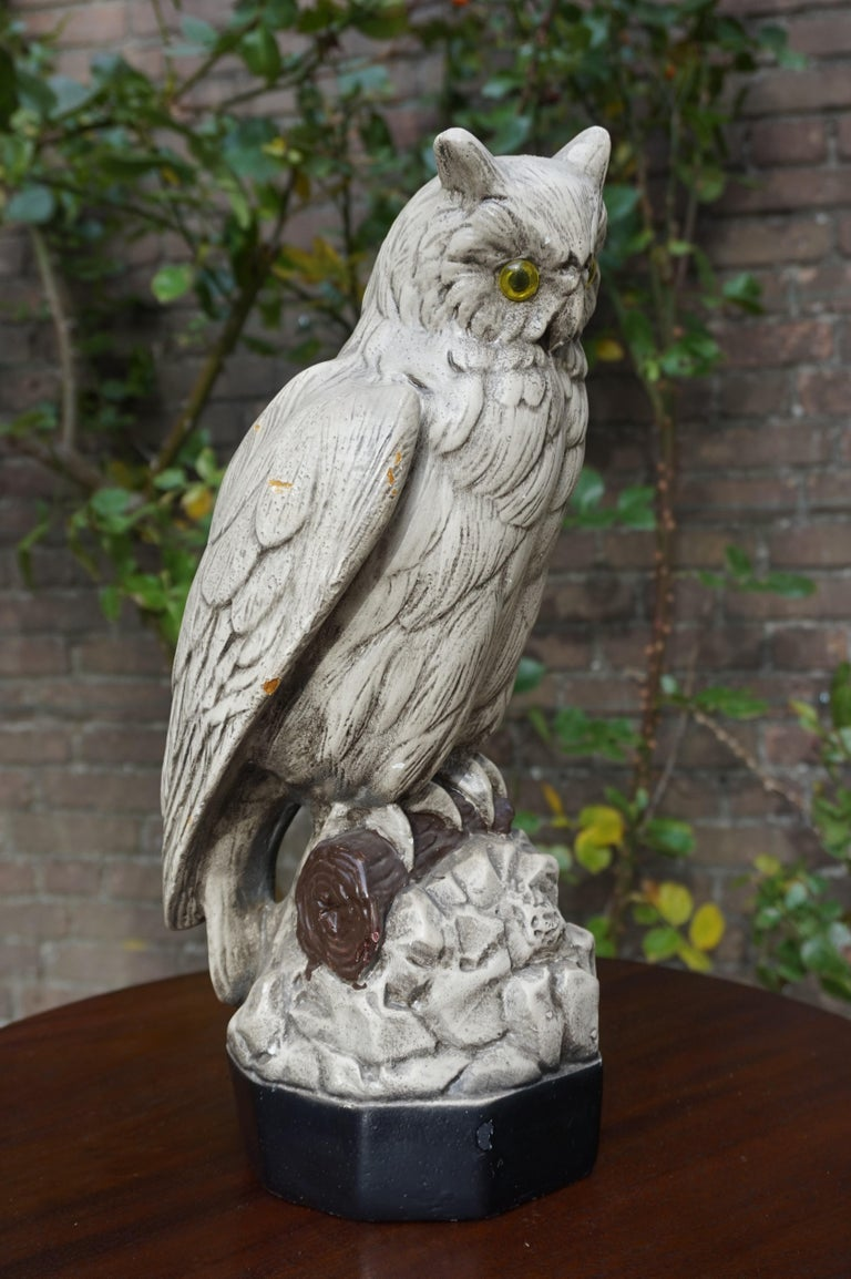 Group of Three Early 20th Century Hand Painted Symbolical Sitting Owl Sculptures For Sale 3