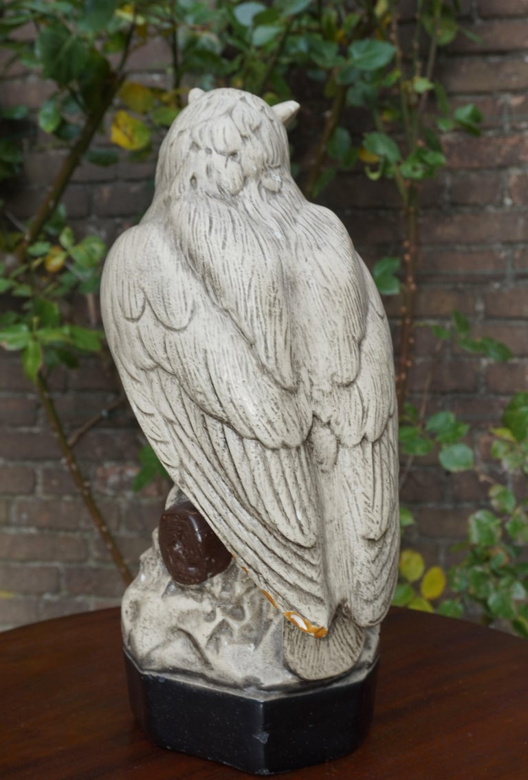 Group of Three Early 20th Century Hand Painted Symbolical Sitting Owl Sculptures For Sale 5