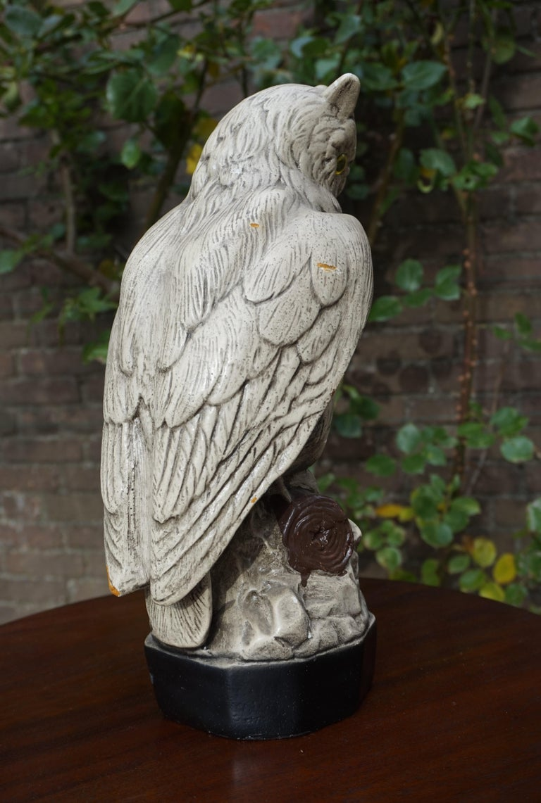 Group of Three Early 20th Century Hand Painted Symbolical Sitting Owl Sculptures For Sale 6