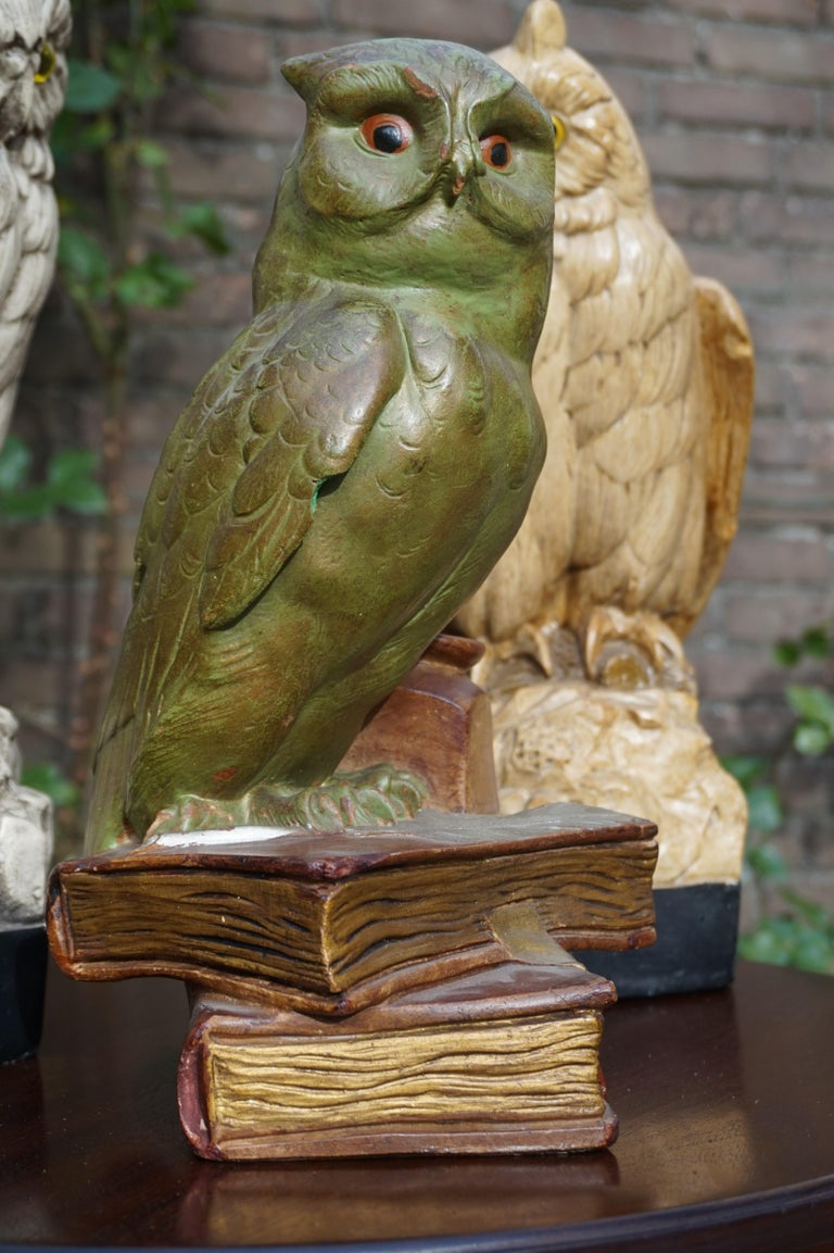 Group of Three Early 20th Century Hand Painted Symbolical Sitting Owl Sculptures For Sale 7