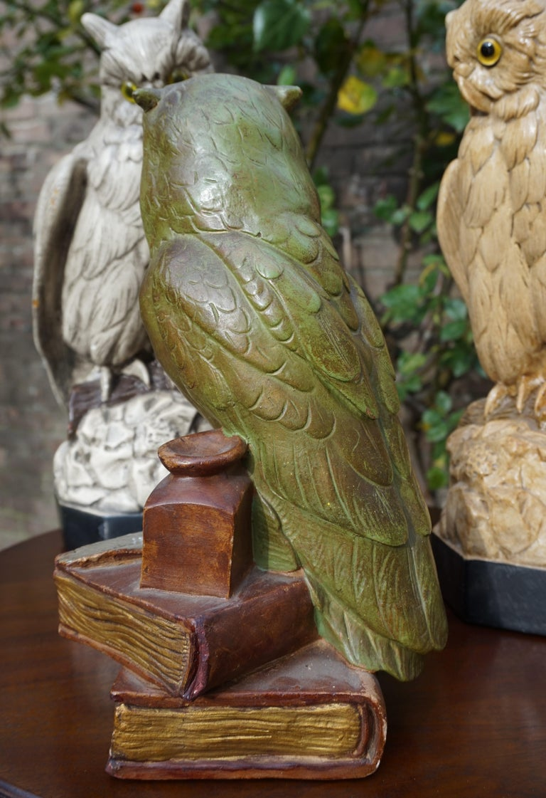 Group of Three Early 20th Century Hand Painted Symbolical Sitting Owl Sculptures For Sale 8