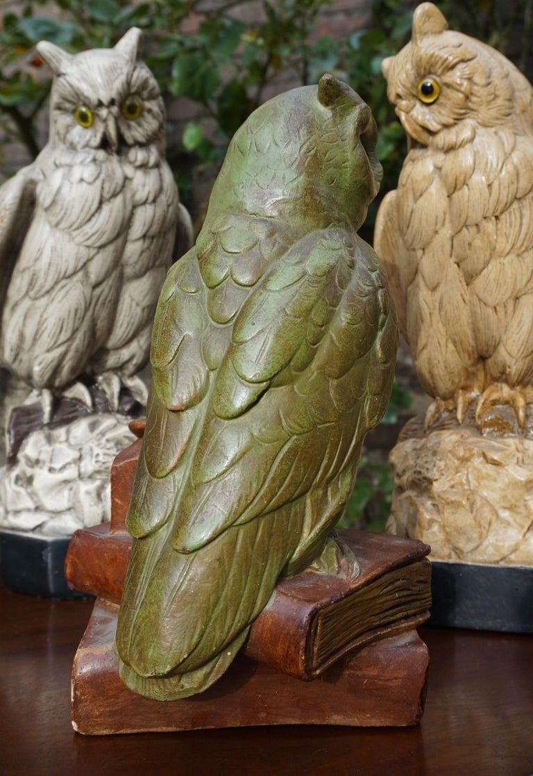Group of Three Early 20th Century Hand Painted Symbolical Sitting Owl Sculptures For Sale 9