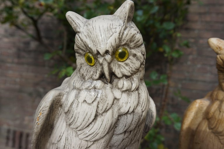 Group of Three Early 20th Century Hand Painted Symbolical Sitting Owl Sculptures For Sale 10