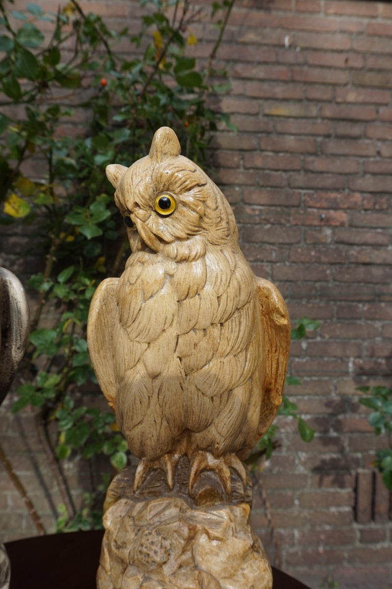 Group of Three Early 20th Century Hand Painted Symbolical Sitting Owl Sculptures For Sale 11
