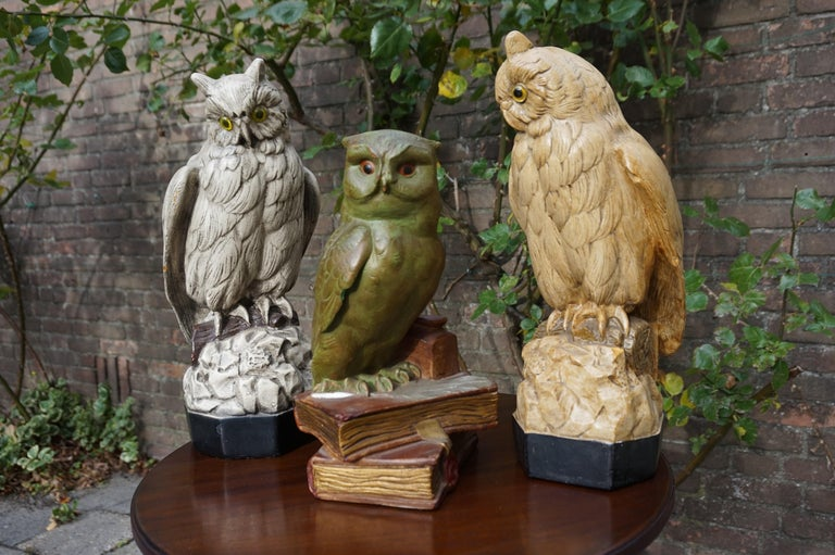 Meaningful and highly decorative group of owls from 1920-1930.  If you are a collector of decorative owl sculptures then these three European ones from the early 20th century could be a great addition to your collection. Apart from a few chips these