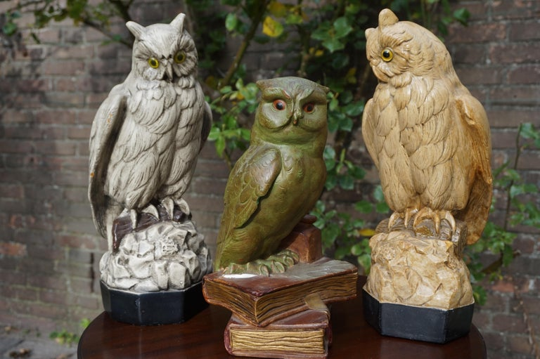 Group of Three Early 20th Century Hand Painted Symbolical Sitting Owl Sculptures For Sale 13