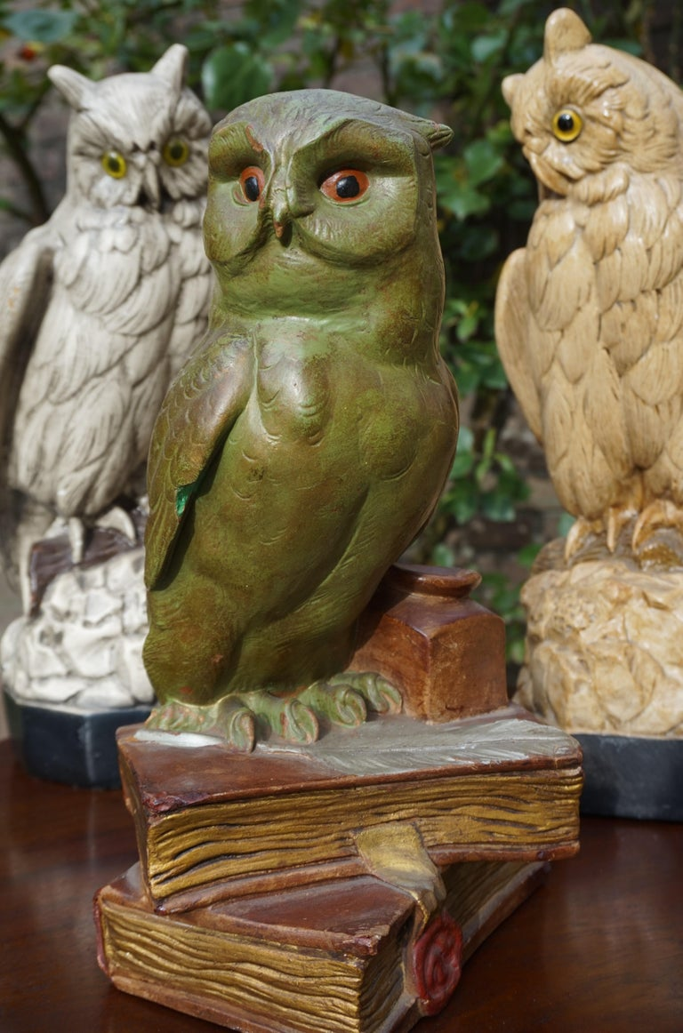 Art Deco Group of Three Early 20th Century Hand Painted Symbolical Sitting Owl Sculptures For Sale