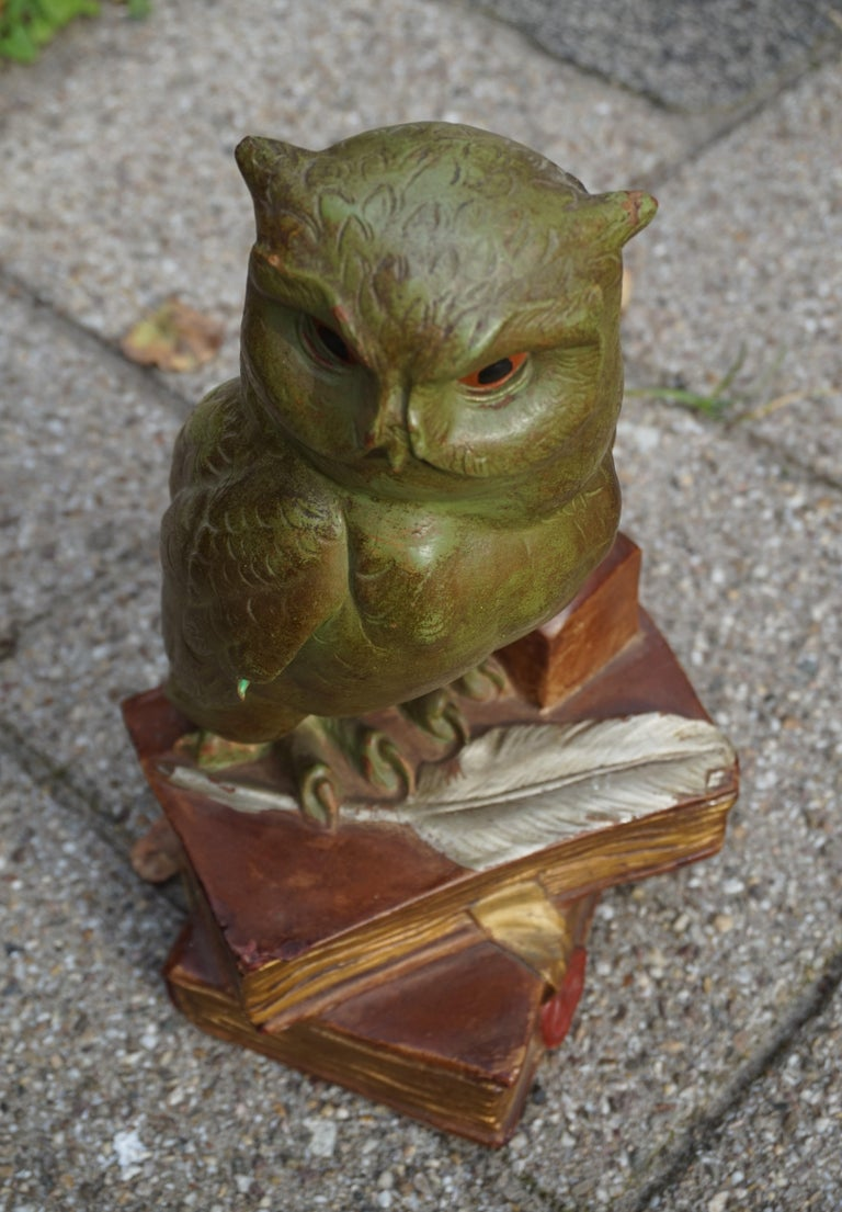European Group of Three Early 20th Century Hand Painted Symbolical Sitting Owl Sculptures For Sale