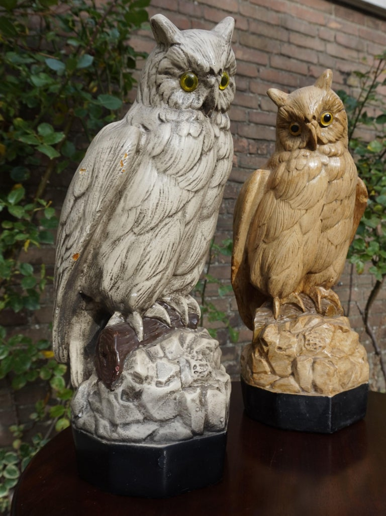 Hand-Painted Group of Three Early 20th Century Hand Painted Symbolical Sitting Owl Sculptures For Sale