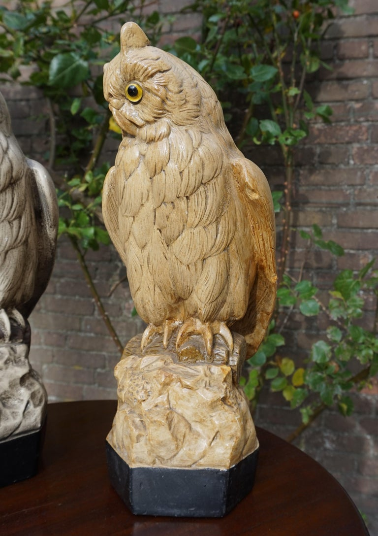 Group of Three Early 20th Century Hand Painted Symbolical Sitting Owl Sculptures In Good Condition For Sale In Lisse, NL