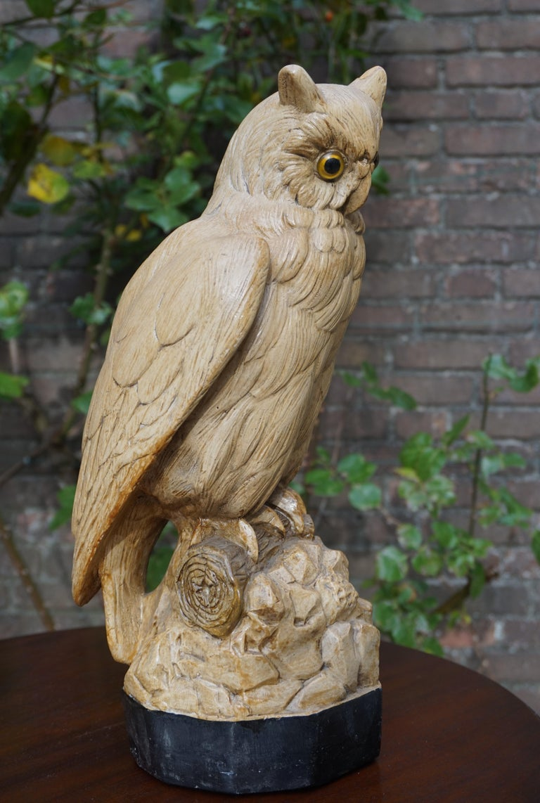 Plaster Group of Three Early 20th Century Hand Painted Symbolical Sitting Owl Sculptures For Sale