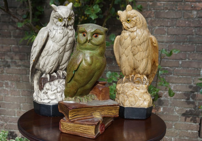 Group of Three Early 20th Century Hand Painted Symbolical Sitting Owl Sculptures For Sale 2
