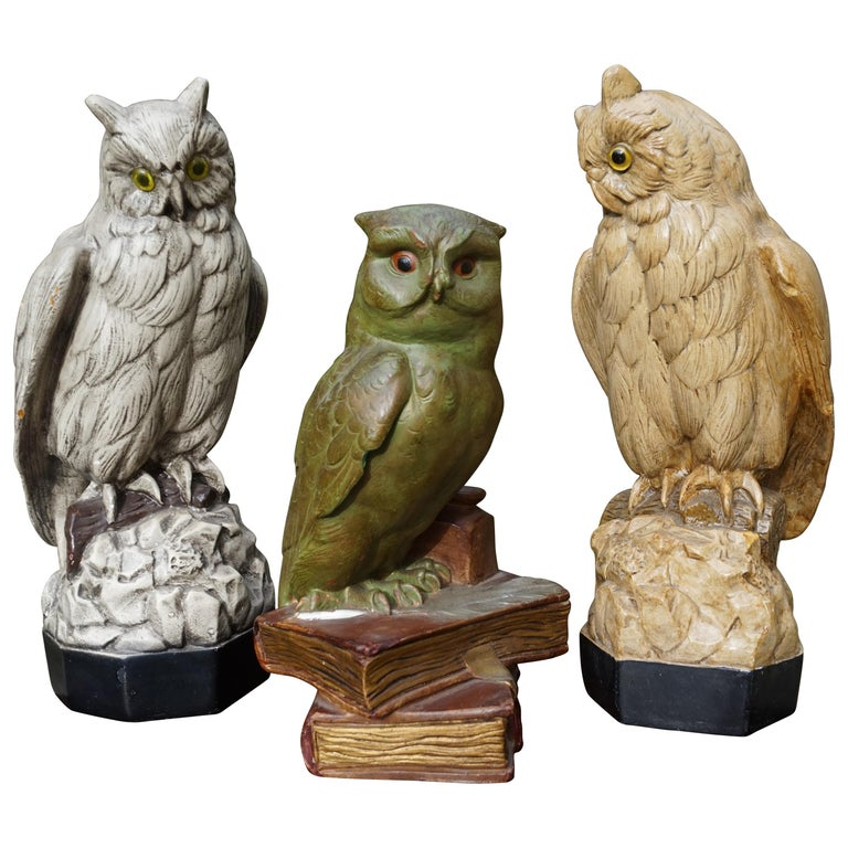 Group of Three Early 20th Century Hand Painted Symbolical Sitting Owl Sculptures For Sale