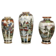 Group of Three Early 20th Century Satsuma Hand Painted Polychrome Vases