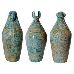 Group of Three Egyptian Glazed Stoneware Canopic Jars, circa 1920