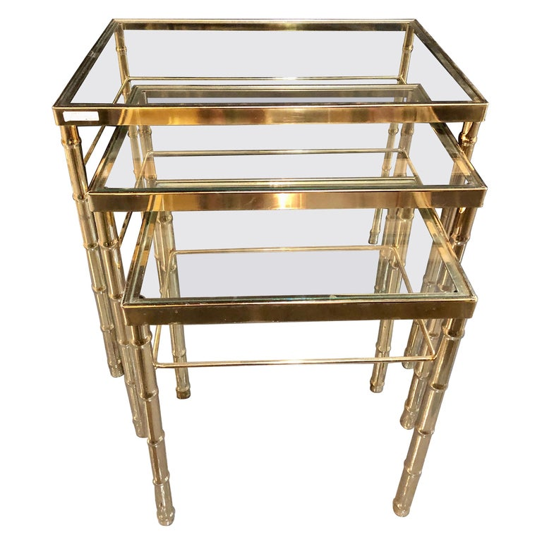 Group of Three Faux Bamboo Brass Nesting Tables with Glass Tops For Sale