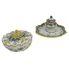 Group of Two French Faience Ink Wells, 19th Century