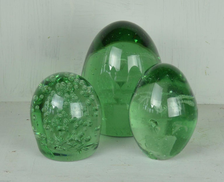 Victorian Group of Three Green Glass Dumps English, 19th Century For Sale