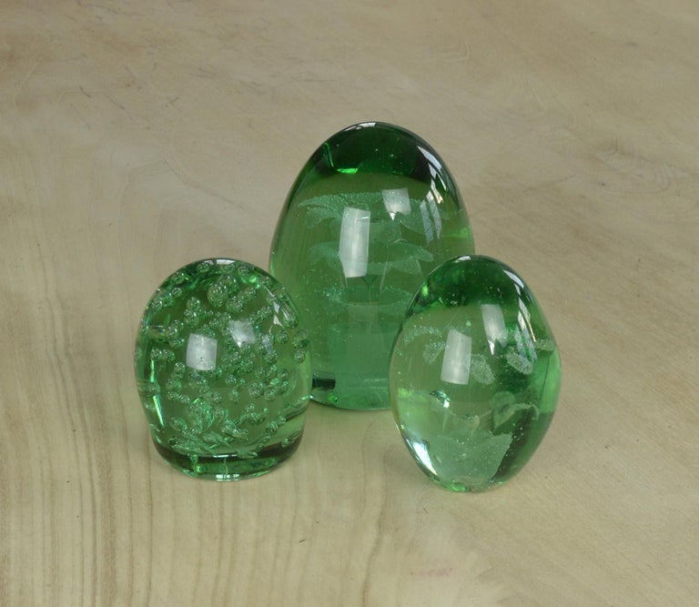 Hand-Crafted Group of Three Green Glass Dumps English, 19th Century For Sale