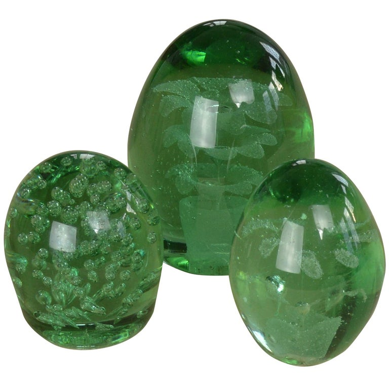 Group of Three Green Glass Dumps English, 19th Century For Sale
